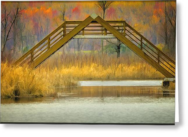 Nature Center Pond Greeting Cards - Seven Ponds A Frame Bridge Greeting Card by LeeAnn McLaneGoetz McLaneGoetzStudioLLCcom