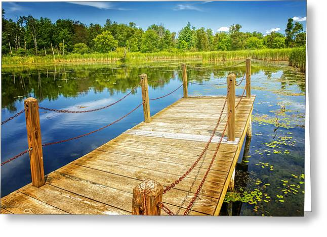 Nature Center Pond Greeting Cards - Seven Ponds Nature Center Water Fowl Refuge Dock Greeting Card by LeeAnn McLaneGoetz McLaneGoetzStudioLLCcom