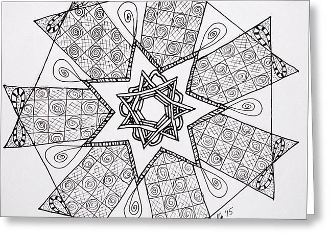 Aura Drawings Greeting Cards - Seven-Sided Star Greeting Card by Lori Kingston