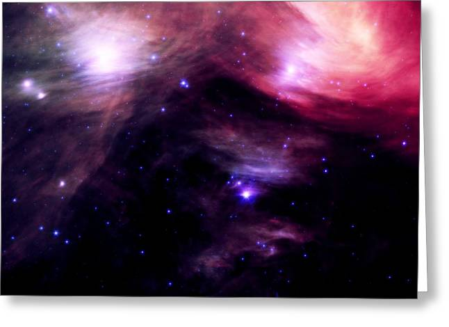 Intergalactic Space Greeting Cards - Seven Sister Pink Greeting Card by Johari Smith
