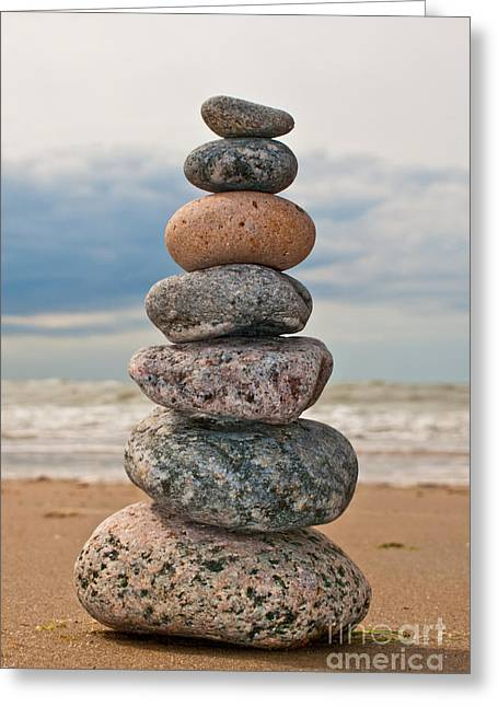 Zen Rock Stacking Greeting Cards - Seven Stones Greeting Card by Olaf Schlueter
