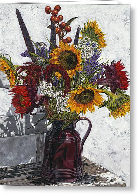 Italian Pottery Greeting Cards - Seven Sunflowers Greeting Card by Nanette Vacher