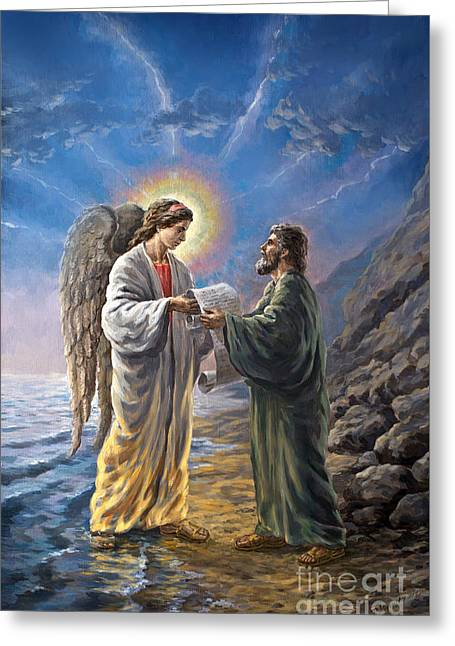 The Leaver Greeting Cards - Original Oil Painting Seventh Angel meets John at the Island of Patmos signed Greeting Card by Vigovsky