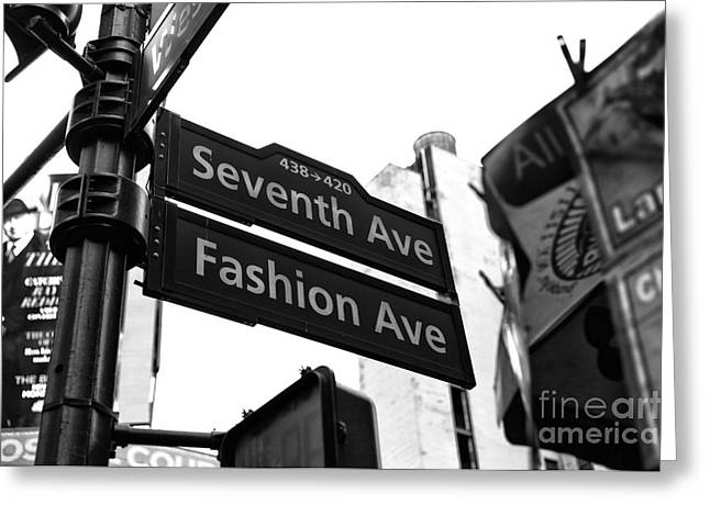 Fashion Photos For Sale Greeting Cards - Seventh Ave Fashion Ave mono Greeting Card by John Rizzuto