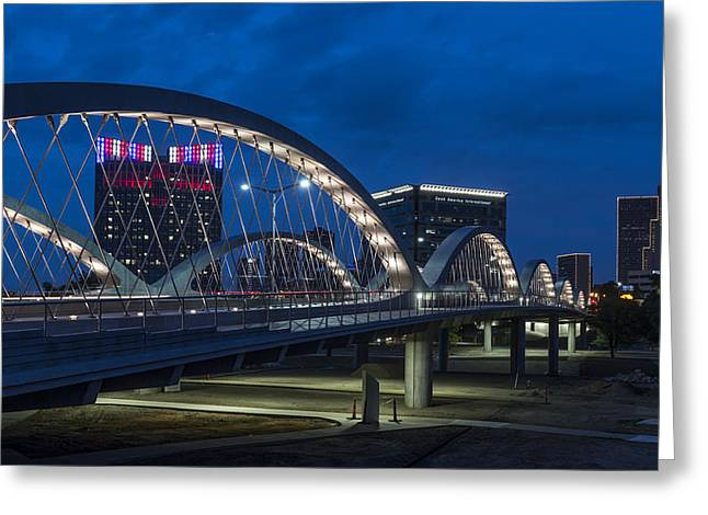 Fort River Greeting Cards - Seventh Street Bridge Night Lights - Fort Worth Texas Greeting Card by Mountain Dreams