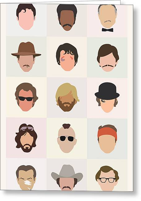 Mustaches Digital Greeting Cards - Seventies Movie Dudes Greeting Card by Mitch Frey