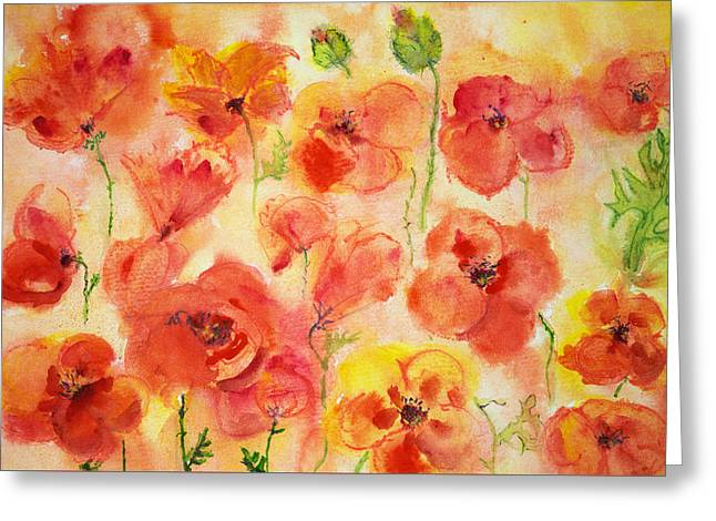 Ww1 Greeting Cards - Several poppies and some green buds.  Greeting Card by Briste