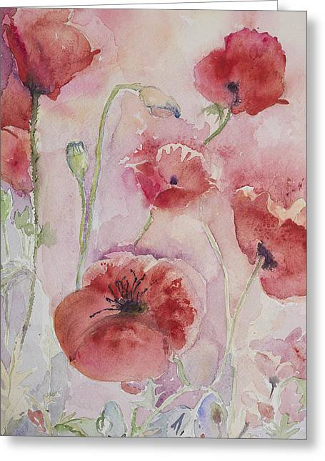 Ww1 Greeting Cards - Several poppies with pink and yellow background Greeting Card by Briste