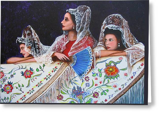 Sevilla's ladies Greeting Card by Jorge Parellada