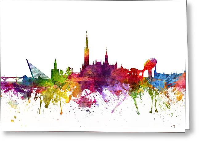 Skylines Drawings Greeting Cards - Seville Spain Cityscape 06 Greeting Card by Aged Pixel