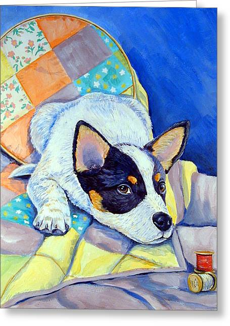Australian Cattle Dog Greeting Cards - Sew Sweet Greeting Card by Lyn Cook