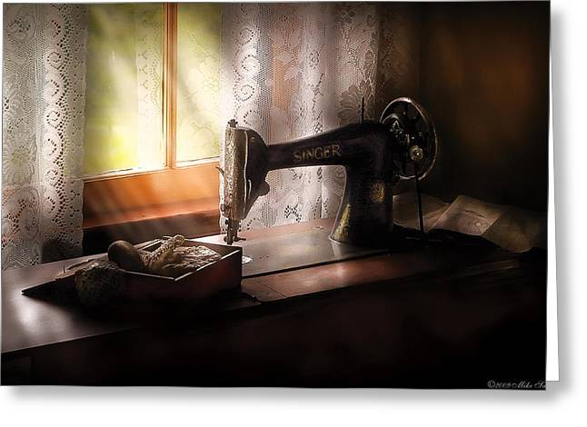 Mothersday Greeting Cards - Sewing Machine -  Singer II  Greeting Card by Mike Savad
