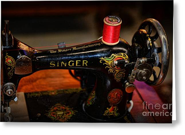Americana Landscapes Greeting Cards - Sewing Machine - Singer Sewing Machine Greeting Card by Paul Ward