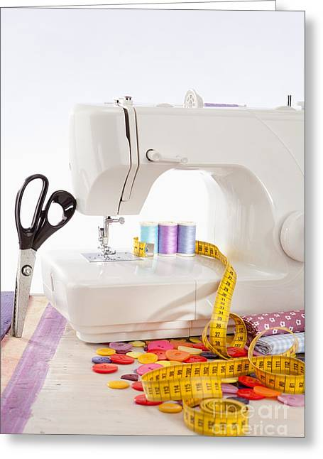 Sewing Supplies Greeting Cards - Sewing machine with many sewing utensils on a wooden box Greeting Card by Wolfgang Steiner