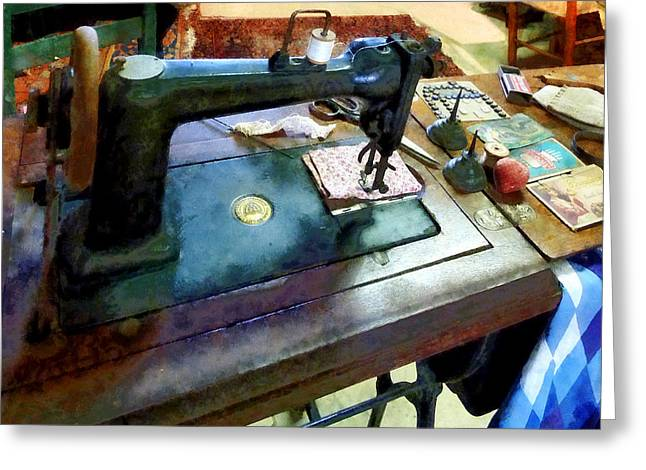 Sewing Machine With Sissors Greeting Card by Susan Savad