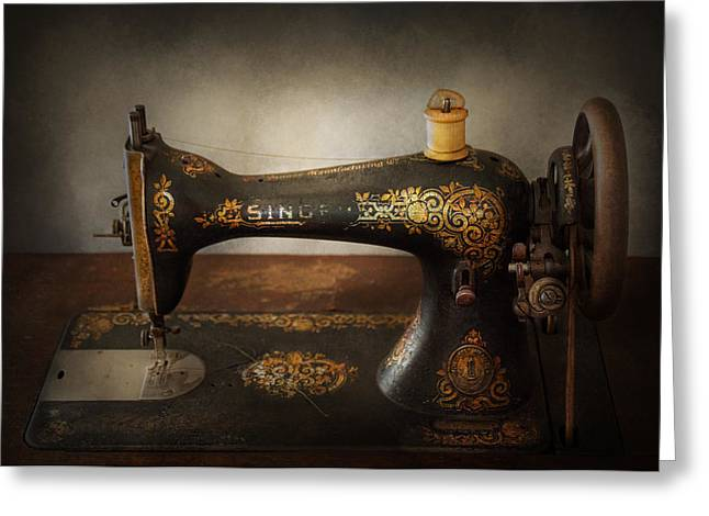 Sewing - Sing A Song Greeting Card by Mike Savad