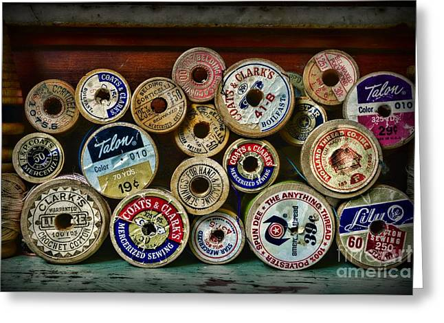 Sewing Spools Remember Them Greeting Card by Paul Ward