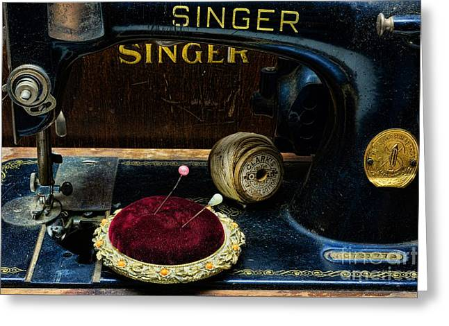 Sewing Hobby Greeting Cards - Sewing - Victorian Pin Cushion - Singer Sewing Machine Greeting Card by Paul Ward