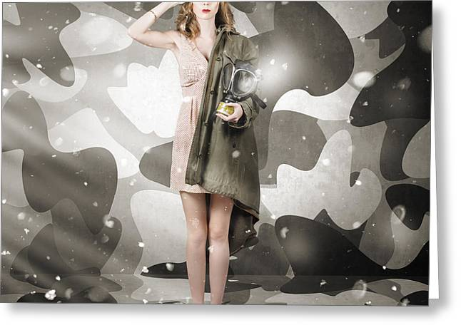Gasmask Greeting Cards - Sexy army girl saluting on snow camo background Greeting Card by Ryan Jorgensen