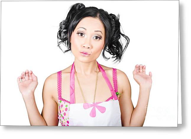 Apron Greeting Cards - Sexy Asian pinup woman with surprised expression Greeting Card by Ryan Jorgensen
