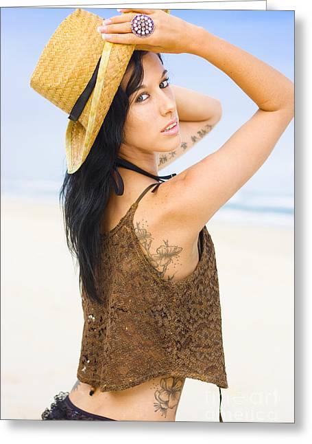 Sleeveless Greeting Cards - Sexy Beach Adventure Greeting Card by Ryan Jorgensen