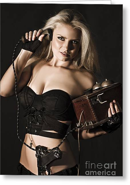 Sexy Blond Secret Agent Greeting Card by Jorgo Photography - Wall Art Gallery