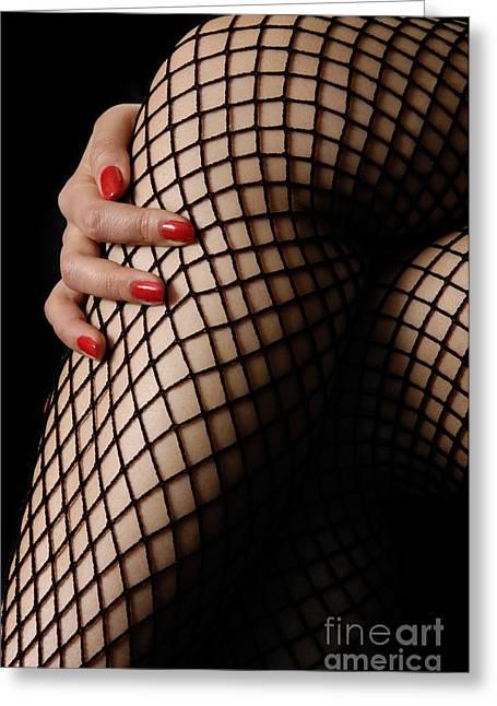 Hosiery Greeting Cards - Sexy Legs in Fishnet Stockings Greeting Card by Oleksiy Maksymenko