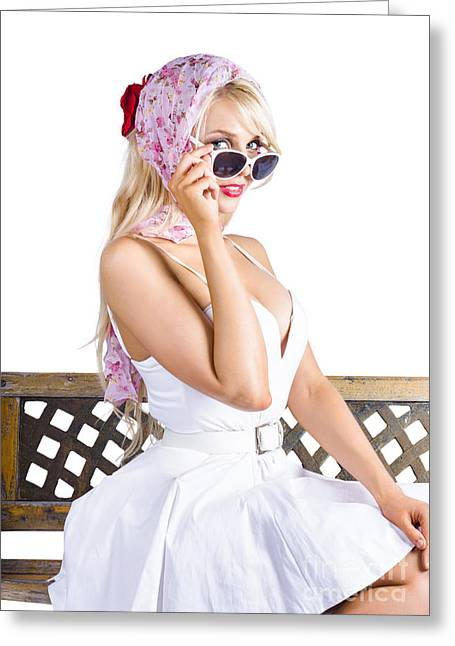 Sexy Pinup Girl Greeting Card by Jorgo Photography - Wall Art Gallery