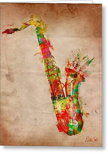 Splatter Greeting Cards - Sexy Saxaphone Greeting Card by Nikki Smith