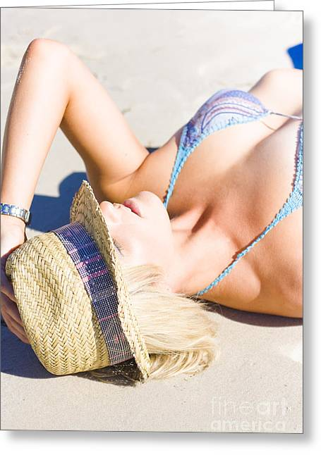 Women Only Greeting Cards - Sexy woman on sand Greeting Card by Ryan Jorgensen