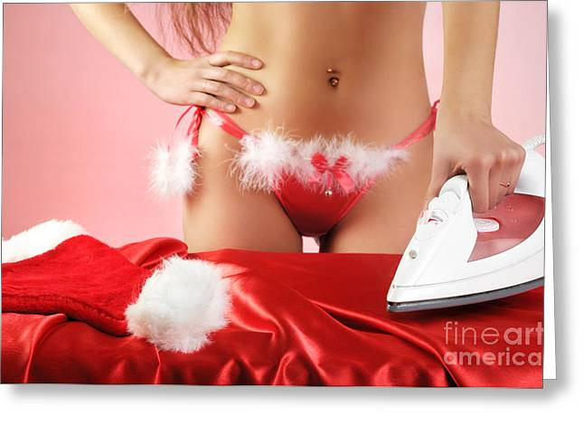 Outfit Greeting Cards - Sexy Woman Preparing for Christmas Holidays Greeting Card by Oleksiy Maksymenko