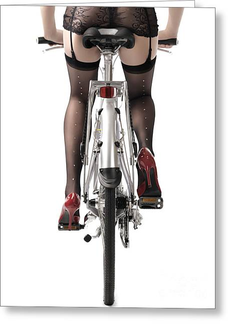 Low Heeled Shoes Greeting Cards - Sexy Woman Riding a Bike Greeting Card by Oleksiy Maksymenko