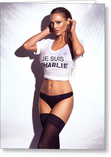 Big Breasts Greeting Cards - Sexy young woman in wet Je Suis Charlie shirt and lingerie Greeting Card by Oleksiy Maksymenko