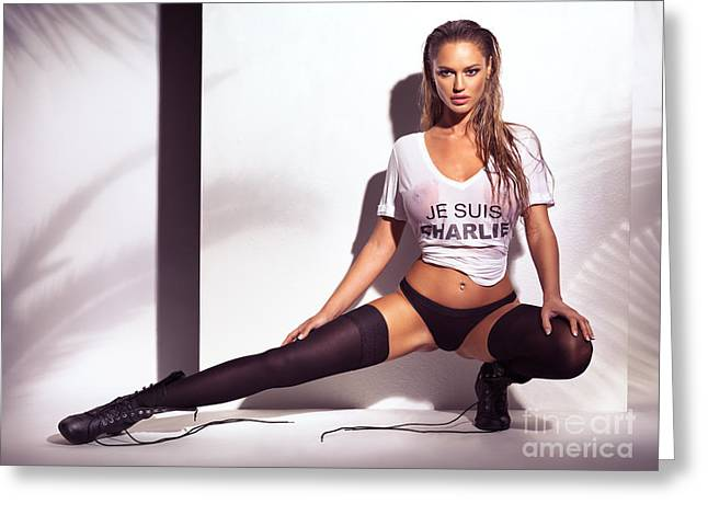 Isolated Against Black Background Greeting Cards - Sexy young woman in wet Je Suis Charlie shirt and underwear Greeting Card by Oleksiy Maksymenko