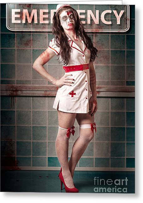 Overtime Greeting Cards - Sexy zombie medical emergency nurse in hospital ER Greeting Card by Ryan Jorgensen