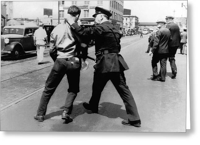 Police Officer Greeting Cards - SF Striker Arrested Greeting Card by Underwood Archives