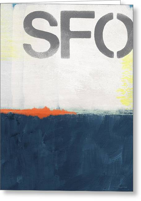 Blue And Orange Greeting Cards - SFO- abstract art Greeting Card by Linda Woods