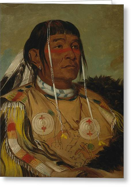 Sha-co-pay, The Six, Chief Of The Plains Ojibwa Greeting Card by George Catlin
