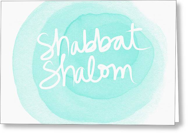 Shabbat Shalom Sky Blue Drop- Art By Linda Woods Greeting Card by Linda Woods