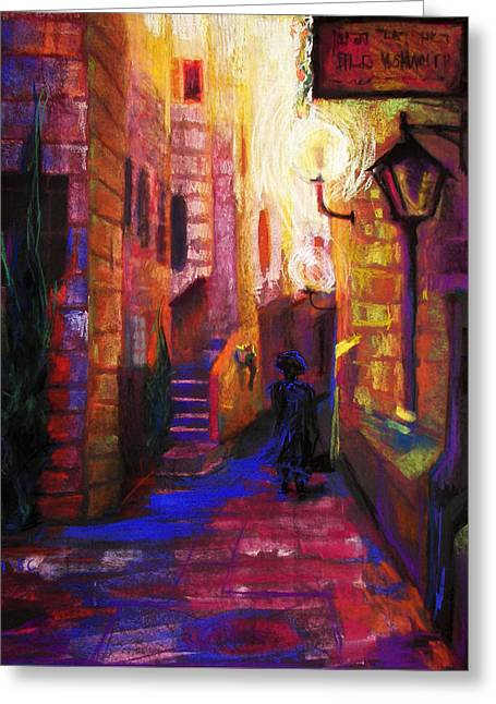 Night Lamp Greeting Cards - Shabbat Shalom Greeting Card by Talya Johnson