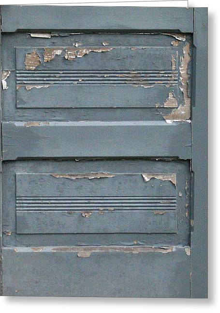 House By The Sea Greeting Cards - Shabby Blue Door Panels Greeting Card by Mg Rhoades