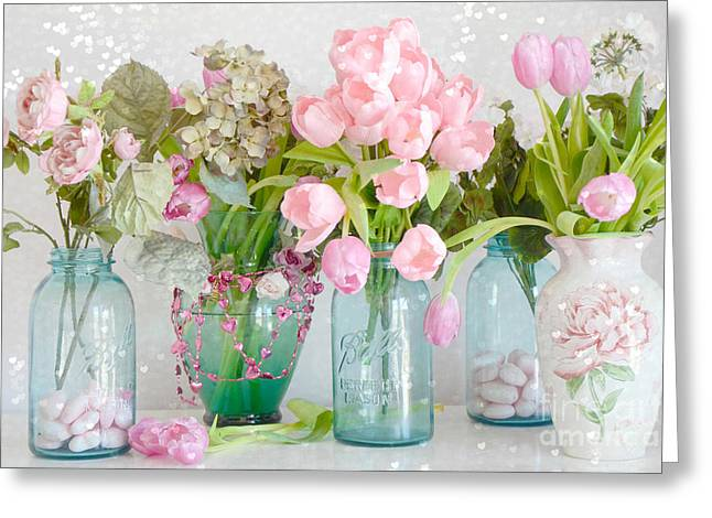 Floral Photos Greeting Cards - Shabby Chic Cottage Ball Jars and Tulips Floral Photography - Mason Ball Jars Floral Photography Greeting Card by Kathy Fornal