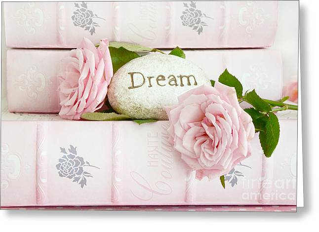 Decor Photography Greeting Cards - Shabby Chic Cottage Pink Roses on Pink Books - Romantic Inspirational Dream Roses  Greeting Card by Kathy Fornal