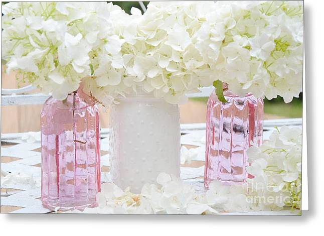Photographs Of Flowers Greeting Cards - Shabby Chic Cottage White Hydrangeas Pink and White Jars - Romantic White Hydrangeas Floral Art Greeting Card by Kathy Fornal