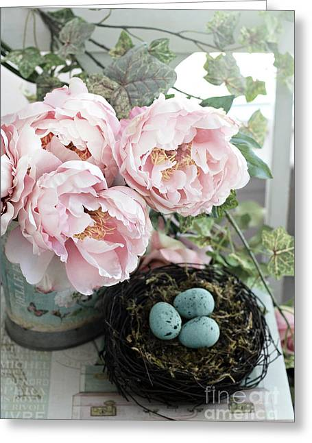 Shabby Chic Peonies With Bird Nest Robins Eggs - Summer Garden Peonies Greeting Card by Kathy Fornal