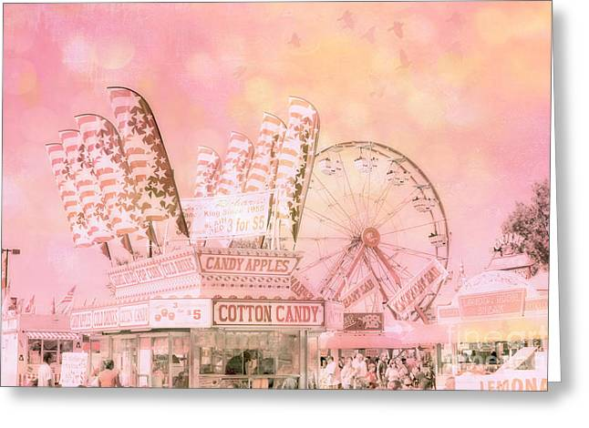 Festivals Fairs Carnival Photos Greeting Cards - Shabby Chic Pink Carnival Art - Cotton Candy Pink Carnival Ferris Wheel Prints Greeting Card by Kathy Fornal