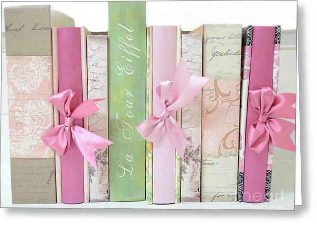 Shabby Chic Pink Pastel Books Collection - Shabby Chic Paris Cottage Chic Pink Books Ribbons  Greeting Card by Kathy Fornal