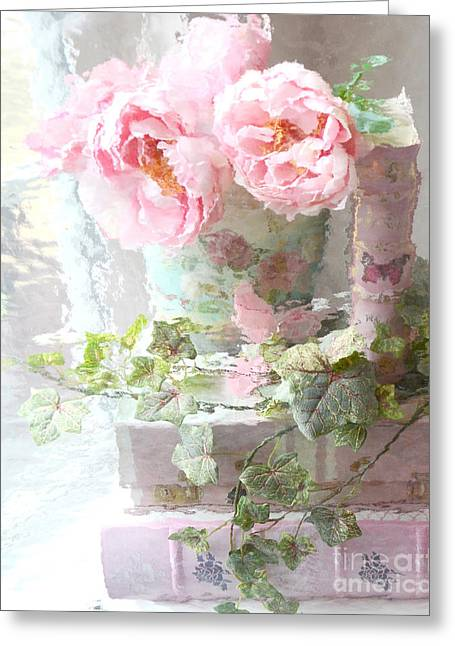 Dreamy Pink Fantasy Art Greeting Cards - Shabby Chic Pink Peonies Impressionistic Romantic Dreamy Cottage Peonies On Pink Books Greeting Card by Kathy Fornal