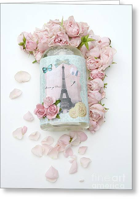 Shabby Chic Pink Roses Eiffel Tower Floral Print - Parisian Eiffel Tower Roses Decor Greeting Card by Kathy Fornal