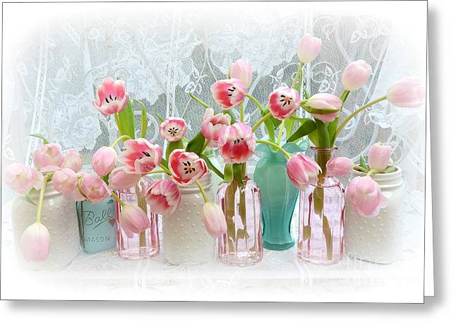 Mason Jar Greeting Cards - Shabby Chic Pink Tulips - Romantic Cottage Pink Aqua White Tulips Mason Jars Greeting Card by Kathy Fornal